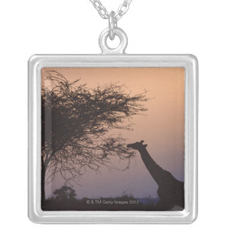 Reticulated Giraffe Silver Plated Necklace