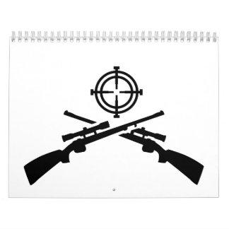 Retículos cruzados de los rifles calendarios de pared