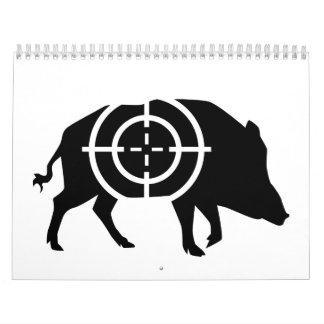Retículos del cazador del jabalí calendarios de pared