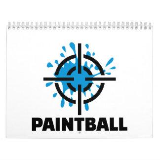Retículos del chapoteo de Paintball Calendarios De Pared