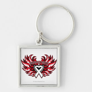 Retinoblastoma Awareness Heart Wings.png Silver-Colored Square Keychain