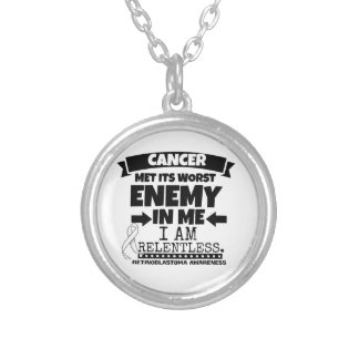 Retinoblastoma Cancer Met Its Worst Enemy in Me Silver Plated Necklace