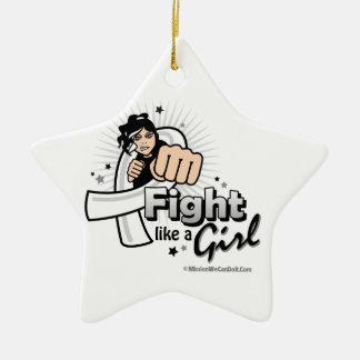 Retinoblastoma Fist - Fight Like a Girl Christmas Tree Ornaments