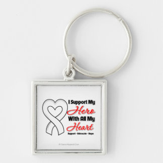 Retinoblastoma I Support My Hero With All My Heart Silver-Colored Square Keychain