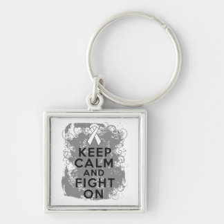 Retinoblastoma Keep Calm and Fight On Silver-Colored Square Keychain