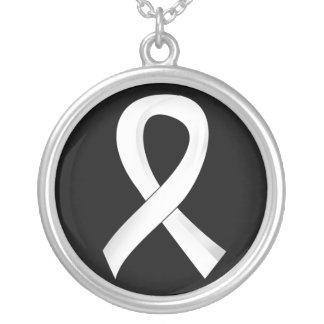 Retinoblastoma White Ribbon 3 Silver Plated Necklace