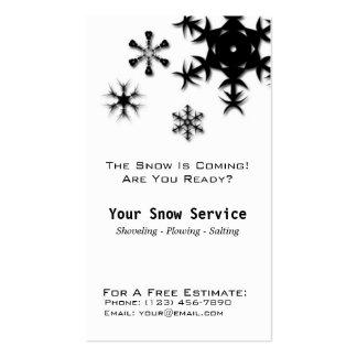 Retirada de la nieve, nieve que ara negro vertical tarjetas de visita