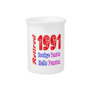 Retirado 1991, adiós pensión de la tensión hola jarras para bebida