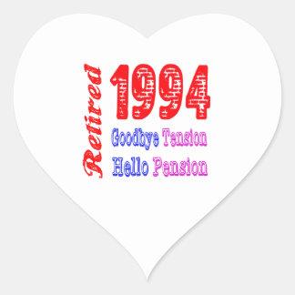 Retirado 1994 adiós pensión de la tensión hola colcomanias de corazon personalizadas