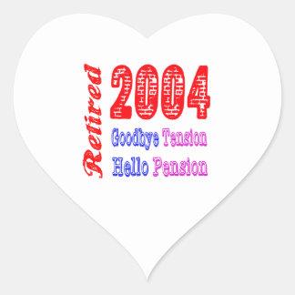 Retirado 2004 adiós pensión de la tensión hola calcomania corazon personalizadas