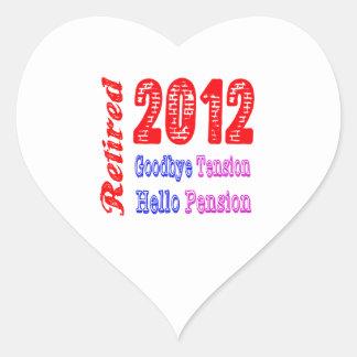 Retirado 2012 adiós pensión de la tensión hola calcomanías de corazones personalizadas