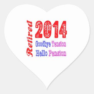 Retirado 2014 adiós pensión de la tensión hola pegatina de corazon personalizadas