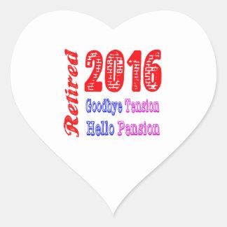 Retirado 2016 adiós pensión de la tensión hola calcomanía corazón