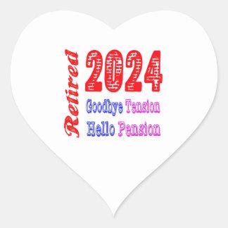 Retirado 2024 adiós pensión de la tensión hola pegatinas corazon