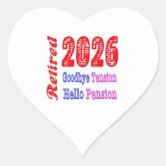 Retirado 2026 adiós pensión de la tensión hola pegatina de corazon personalizadas