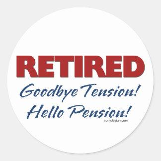 Retirado: ¡Adiós pensión de la tensión hola! Etiquetas Redondas