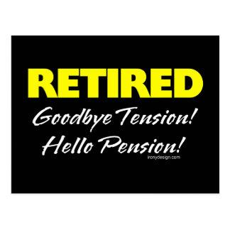 Retirado: ¡Adiós pensión de la tensión hola! Tarjeta Postal