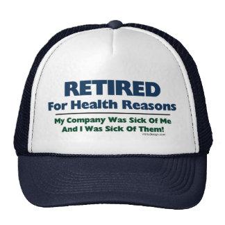 Retirado por razones de la salud gorras de camionero