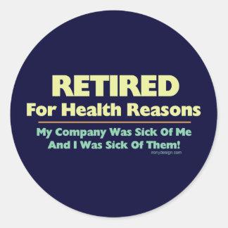 Retirado por razones de la salud pegatina redonda