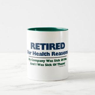 Retirado por razones de la salud tazas de café