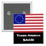 ¡Retirando América! - bandera de 13-Star los E.E.U Pin Cuadrada 5 Cm