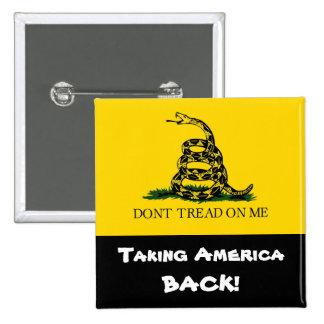 ¡Retirando América! - No pise en mí Pin Cuadrado