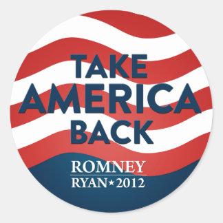 Retire América Romney/el pegatina 2012 de la