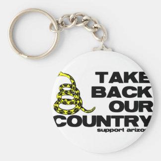 retire nuestro país llavero redondo tipo pin