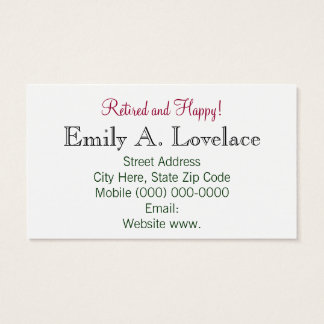 Retired and Happy! business cards Pink Tulips