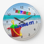 Retired and Loving It - at the Beach Wallclocks