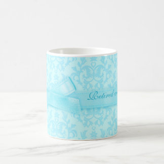 Retired and loving it damask pale blue mug