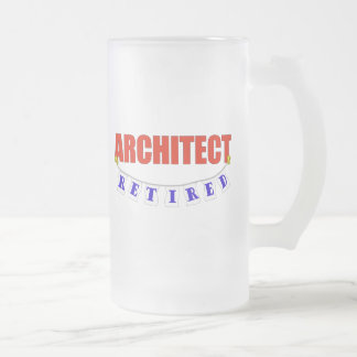 RETIRED ARCHITECT FROSTED GLASS BEER MUG