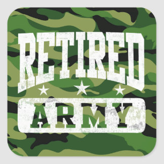 Retired Army Square Sticker
