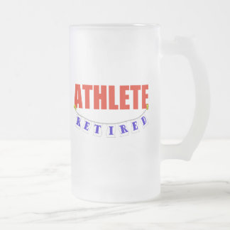 RETIRED ATHLETE FROSTED GLASS BEER MUG