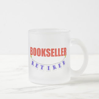 RETIRED BOOKSELLER FROSTED GLASS COFFEE MUG