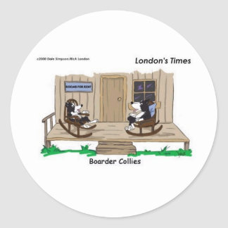 Retired Border Collies Funny Offbeat Cartoon Gifts Classic Round Sticker