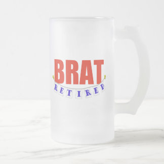 RETIRED BRAT FROSTED GLASS BEER MUG