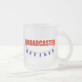 RETIRED BROADCASTER FROSTED GLASS COFFEE MUG