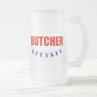 Retired Butcher Frosted Glass Beer Mug