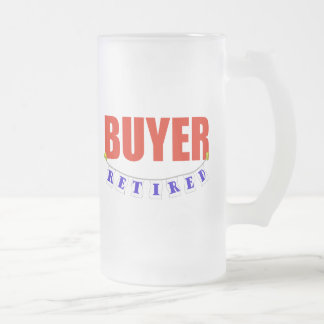 RETIRED BUYER FROSTED GLASS BEER MUG