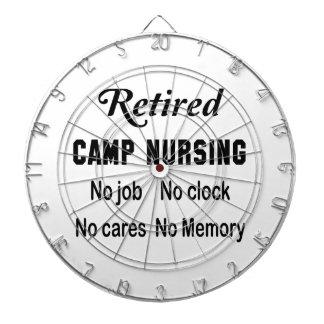 Retired Camp nursing, No job No clock No cares Dartboard With Darts