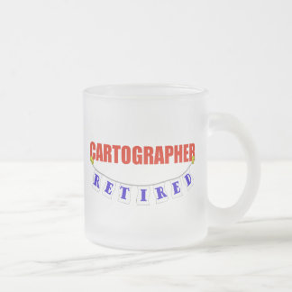 RETIRED CARTOGRAPHER FROSTED GLASS COFFEE MUG