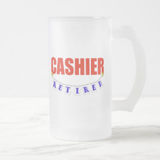RETIRED CASHIER FROSTED GLASS BEER MUG