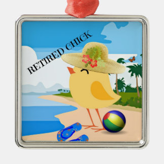 RETIRED CHICK: Chick at the Beach Metal Ornament