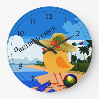 Retired Chick - Humor Large Clock