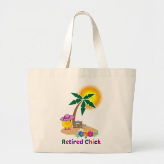 Retired Chick on Vacation Jumbo Tote Bag