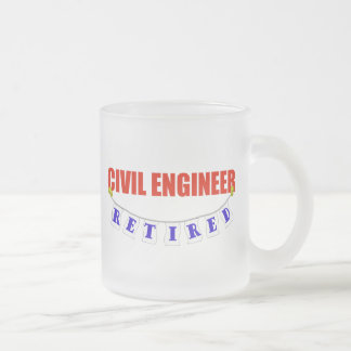 RETIRED CIVIL ENGINEER FROSTED GLASS COFFEE MUG