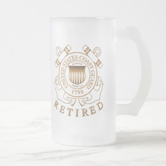 Retired Coast Guard Frosted Glass Beer Mug