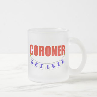RETIRED CORONER FROSTED GLASS COFFEE MUG