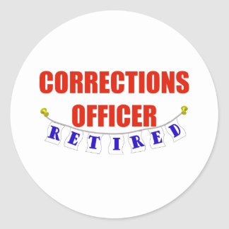 RETIRED CORRECTIONS OFFICER CLASSIC ROUND STICKER